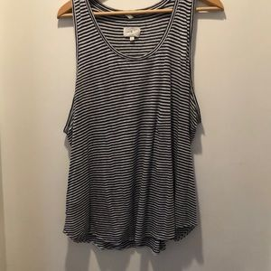 Lou and great navy and white striped tank